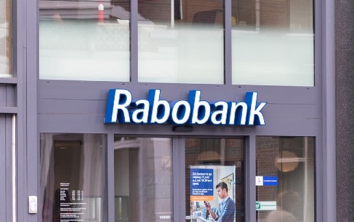 Amsterdam, Netherlands - June 7, 2019: Rabobank sign. Rabobank is a Dutch multinational banking and financial services company.