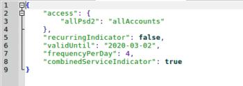 PSD2/XS2A: JSON-Request, geöffnet im Editor