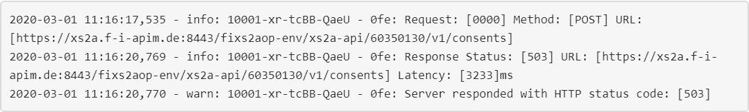 Antwort-Status: HTTP 503 (Server nicht erreichbar). API-Aufruf für den Login bei einer Sparkasse.