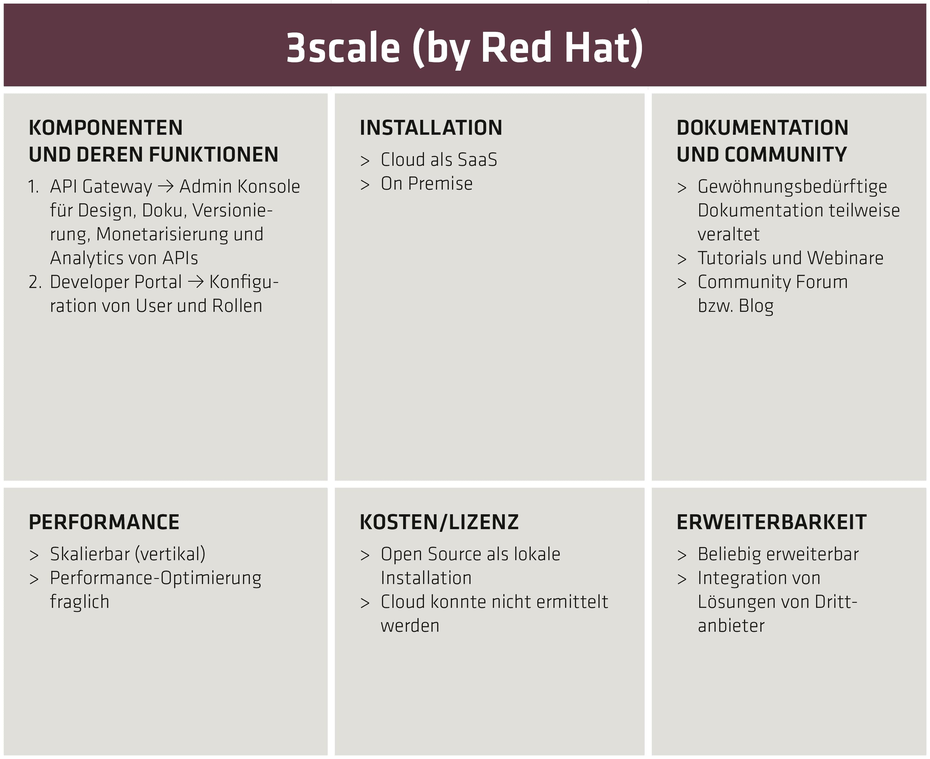 3scale-Bewertungs- und Funktionsmatrix