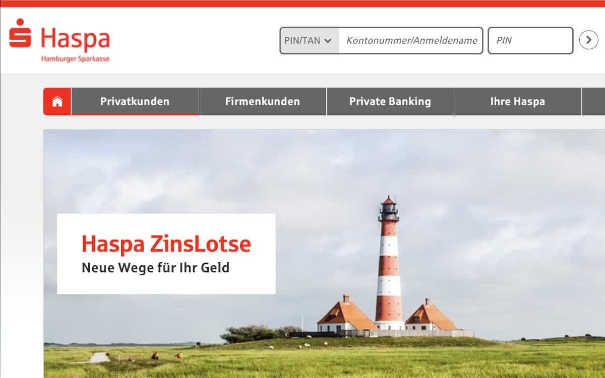 In Kürze startet die Hamburger Sparkasse einen Festgeld-Service mit europäischen Angeboten. <q>Haspa