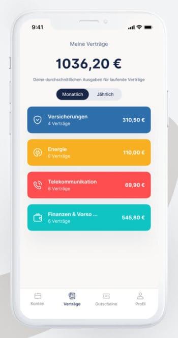 Die App verwaltet Konten, Accounts und Verträge unterschiedlichster Art. <q>Iconic Finance