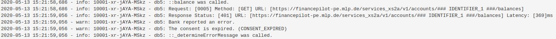 """Multi-User Consent: Noch immer ist es nicht möglich, gleichzeitig verschiedene Zustimmungen (""""Multi-User-Consent"""") für einen User bei der Bank anzufragen. Wie auf dem Screenshot ersichtlich, wird die Information zurückgespielt übertragen, das der Consent abgelaufen sei (""""consent expire"""").<q>FinTecSystems"""