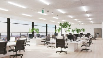 Modern open-plan office with computer workplaces in Berlin (3d rendering)