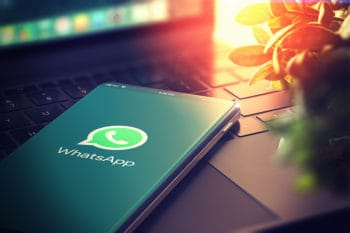 KYIV, UKRAINE-JANUARY, 2020: Whatsapp on Smartphone Screen. CloseUp. Whatsapp is Most Popular Social Media for Communication Sharing Information and Content Between People in Internet. 3D Illustration