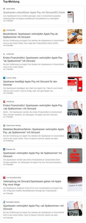 Apple Pay mit girocard: Es raschelt im Blätterwald