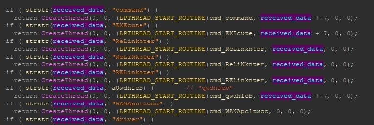 Screenshot der Unterroutine zur Behandlung des C2-Befehls während des CactusPete-Angriffs. <q>Kaspersky</q>