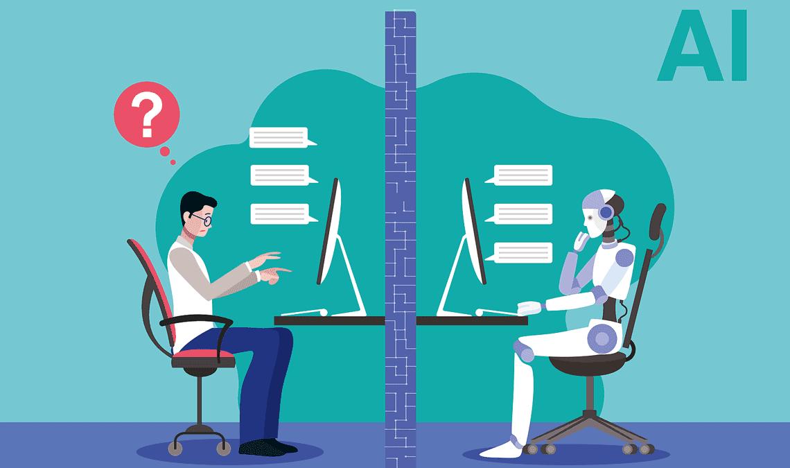 Im Turing-Test simuliert ein Computer einen Gesprächspartner und die Testperson soll herausfinden, ob es sich wirklich um einen Menschen oder um einen Computer handelt.