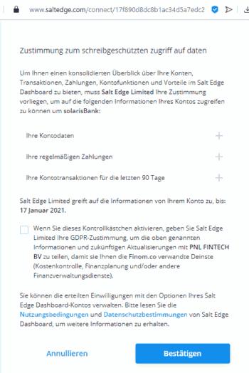 Finom erinnert noch mit schlechter Übersetzung, Rechtschreib- und Grammatikfehlern an Phishing-Seite