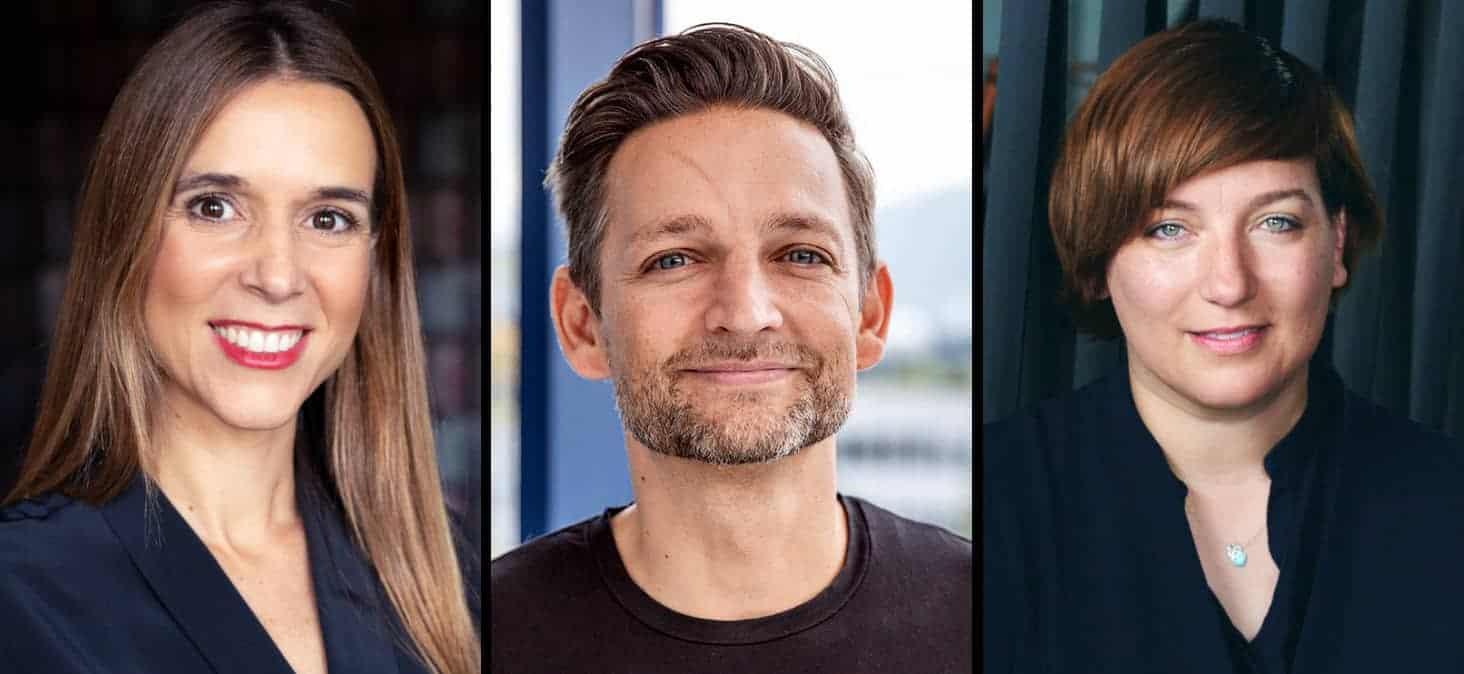 V.l.n.r.: Ruth Armalé, Head of Open Innovation bei HITS, Andreas Iten, Co-Founder von F10, und Katka Letzing, Co-Founder & CEO von Kickstart.<Q> HITS, F10, Kickstart