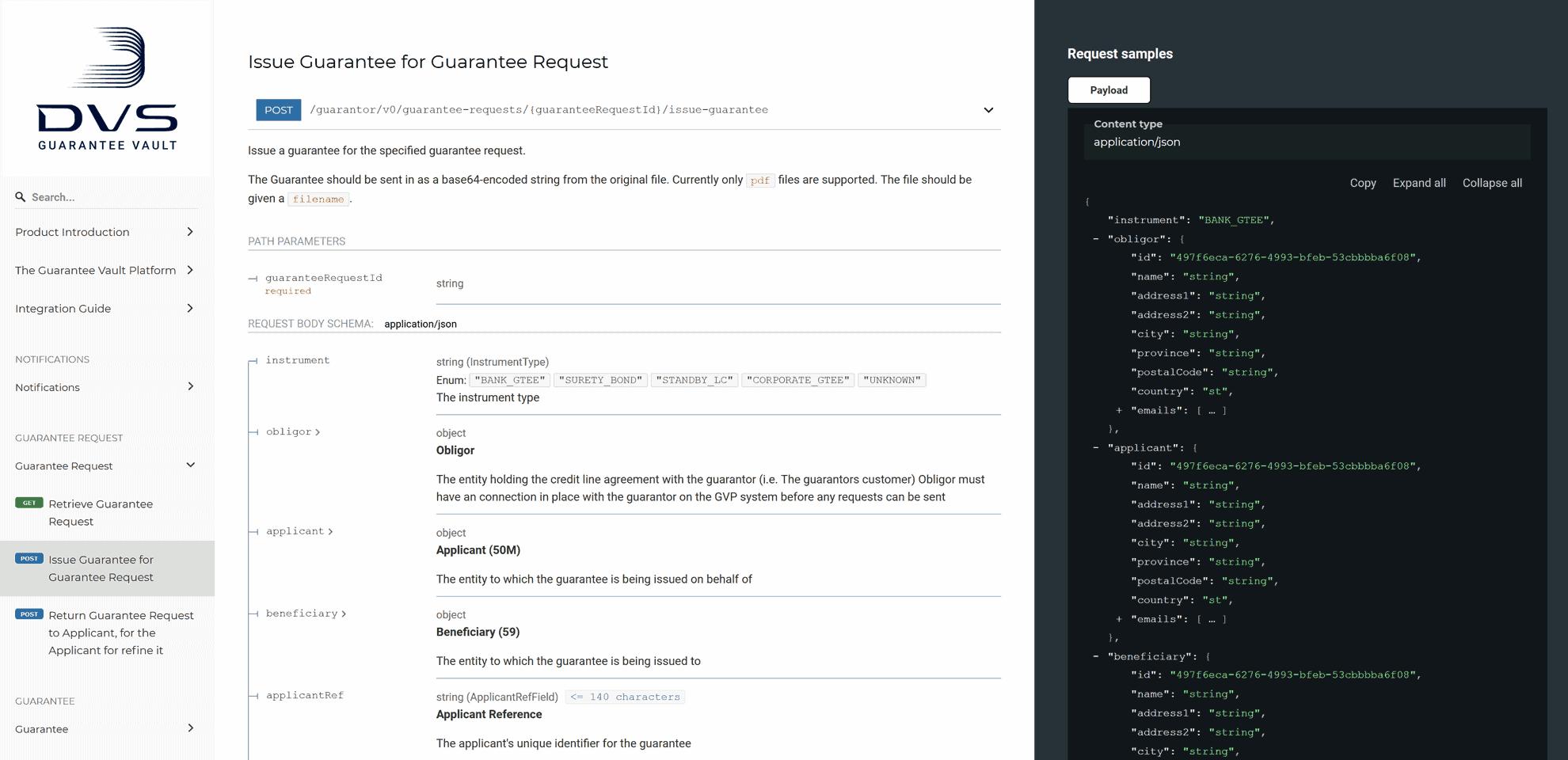"API-Dokumentation für ""Guarantee Vault Plattform""-Entwickler"