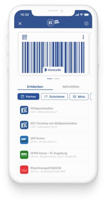 Der KSC hat unter dem Namen KSC-Pay die Bluecode-Bezahlfunktion in seine App integriert. <Q>Blue Code International / KSC
