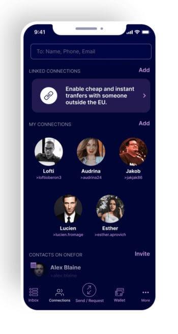 Geldtransfers, Chats und Nachrichtenversand können über die App einfach per Zugriff auf das Adressbuch gestartet werden..<Q>OneFor