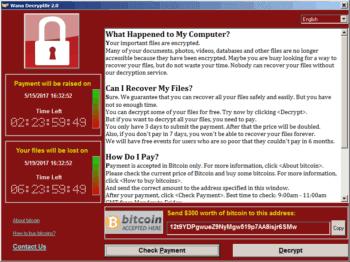 Ransomware WannaCry aus dem Jahr 2017<q>Wikipedia/ CC BY-SA 4.0/ http://thegear.co.kr/14501