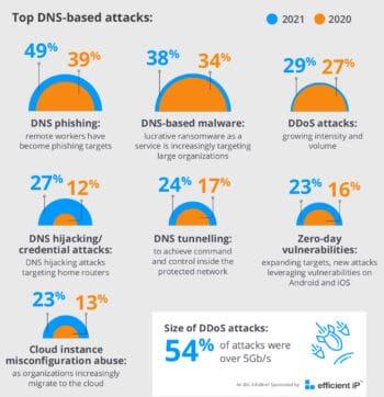 DNS-Angriffe aller Art haben weiter zugenommen.<q>EfficientIP